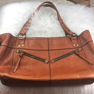 Lucky Brand large detailed leather shoulder bag